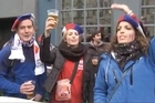 Spontaneous outbursts of the French National Anthem La Marseillaise are happening on the streets of Cardiff before the knockout quarterfinal match between France and the All Blacks.