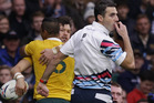 South African referee Craig Joubert blows the whistle during Australia's quarter-final win over Scotland. Photo / AP