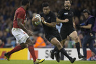 All Blacks winger Julian Savea on his way to score a try against France. Photo / Brett Phibbs