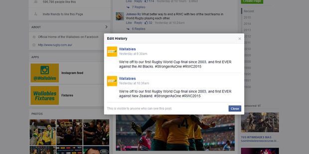 """A recent post on the Australian Rugby Union Facebook Page was edited, replacing """"All Blacks"""" with """"New Zealand""""."""
