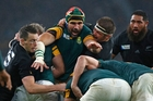 Victor Matfield (centre) wants a good last game for retiring Boks. Picture / AP