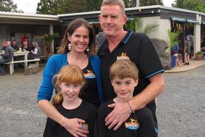 The owners of Hone Heke Lodge in Kerikeri, Victoria and David Howells, with twins Ella and Joe.