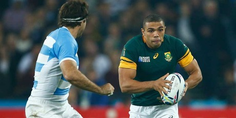 Bryan Habana of South Africa breaks with the ball during the 2015 Rugby World Cup Bronze Final match between South Africa and Argentina. Photo / Getty Images.