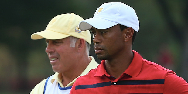 Tiger Woods and Steve Williams. Photo / Getty Images