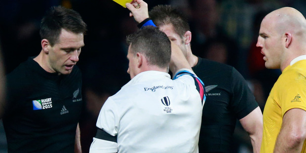 Nigel Owens yellow cards Ben Smith during the World Cup final. Photo / Getty