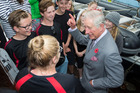 His Royal Highness Prince Charles, Prince of Wales visits the Spirit of New Zealand vessel on Princess wharf, Auckland. Photo / Nick Reed