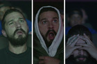Stills from the #AllMyMovies livestream where actor Shia LaBeouf watches all of his movies.