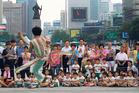 A South Korean taekwondo expert performs martial arts. Photo / AP