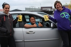 Dannevirke teenagers, Xena Waitere, 17, who is about to go for her learner's driver's licence and Fairlane Bristowe-Chase, 17, who has her learner's licence and working towards her restricted, with Jeanne O'Brien, manager of Tararua Community Youth Services. Photo / Christine McKay