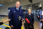 Police Superintendant John Tims and Jeanette Burns from the Department of Corrections addresses media at Auckland International Airport. Photo / Dean Purcell, NZ Herald