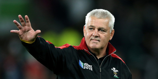 Warren Gatland, Head Coach of Wales waves prior to the 2015 Rugby World Cup Pool A match between England and Wales. Photo / Getty Images.