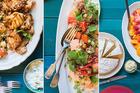 Chicken kichardi, hot sour salmon and strawberry and orange salad. Photos / Bite magazine