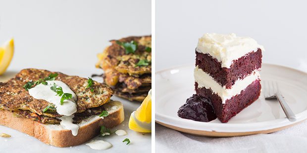 Kiwi kumara and mussel fritters, beet and berry spice cake. Photos / Bite magazine