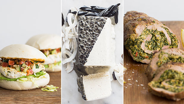 Kiwi fish burger, coconut and licorice icecream cake, rolled roast lamb loin. Photos / Bite magazine