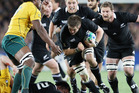 Richie McCaw during the 2011 Rugby World Cup semifinal match against Australia. Photo /  Greg Bowker