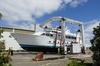HEAVY LIFTING: The 100 tonne Cimolai MBH100 travelift has arrived at Oceania Marine's new Port Whangarei Marine Centre (PWMC). PHOTO/ SUPPLIED