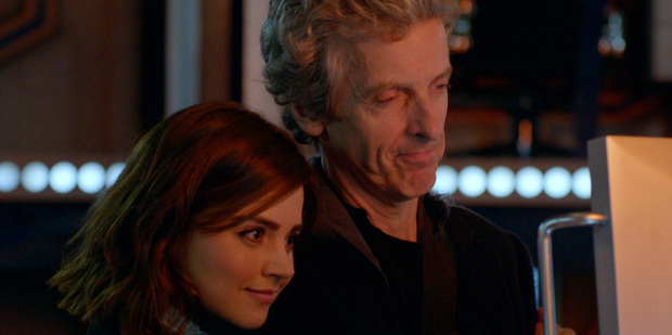 Jenna Coleman and Peter Capaldi in a scene from Doctor Who.