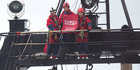 Greenpeace activists boarded the NIWA research vessel Tangaroa in Wellington. Photo / Mark Mitchell