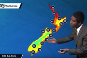 """TV """"meteorologist Chester Lampkin"""" shows that winter temperatures on the 14th August, 2050, are up to 3C warmer than normal for a winter's day. Photo / YouTube"""