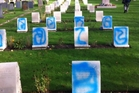 The graffiti on Anzac soldiers' headstones at a churchyard in  London moved a councillor to tears when she discovered it.