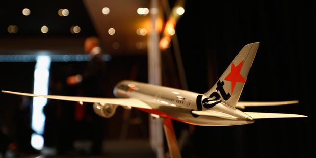 A model Jetstar plane during Jetstar big expansion announcement earlier this year. Photo / Getty Images