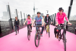 Auckland's bright pink cycleway opened this morning. Photo / Supplied