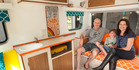 Geoff, Kirsty, and Sol, 7, enjoy holidays in a renovated Anglo Imp caravan named Pipi. He says he spent every spare hour for four months refurbishing the once-mouldy rig.  Photo/Ben Fraser