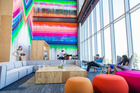 The waiting area of building 20 at Facebook's new campus in Menlo Park, California. Photo / The Washington Post