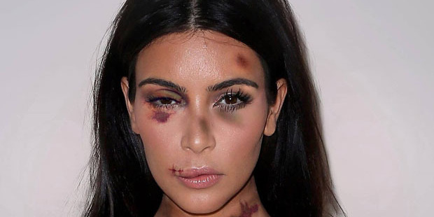 Kim Kardashian's image has been manipulated for the #stopviolenceagainstwomen campaign by American artist aleXsandro Palombo. Photo / Supplied
