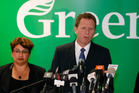 Greens co-leader Russel Norman announcing his decision to resign as co-leader. Photo / Mark Mitchell