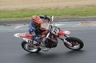 DOUBLE JOY: Whanganui's Richard Dibben (Honda) won both SuperMoto races.