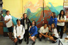 A few of the Year 9-10 Whangaroa College students who worked on the murals. PHOTO / PETER DE GRAAF