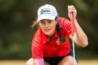 IN-FORM: Maraea Durie lines up a putt on a dominant day one for the team at the Women's Toro Interprovincials in Ashburton.PHOTO/JOSEPH JOHNSON/BWMEDIA FOR NZ GOLF