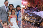 Pauline Bradley with her family and the mangled wreck she had to be cut from. Photos / Supplied