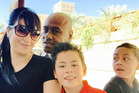 Jonah Lomu with his wife Nadene and boys Brayley and Dhyreille. Photo / Facebook