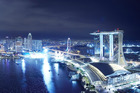 View from LeVeL 33, the world's highest craft brewery in Singapore. Photo / Supplied