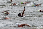 WATERSPORTS: Competitors swam the Whanganui River in the Masters' Games in February.PHOTO/ FILE