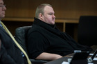 Kim Dotcom in the Auckland District Court on the first morning of the USA v Dotcom and Ors extradition hearing. Photo / Supplied