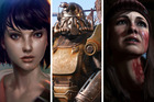 Scenes from the video games Life is Strange, Fallout 4 and Until Dawn.
