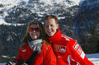 Michael Schumacher with his wife Corinna on the slopes in northern Italy. Photo / Getty