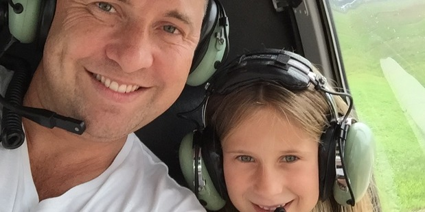 Aaron Toresen with daughter Heidi excited for their helicopter flight which turned into a nightmare. Photo / Supplied