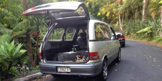 An image of the van the security guards left in has been posted on social media. Photo / Facebook