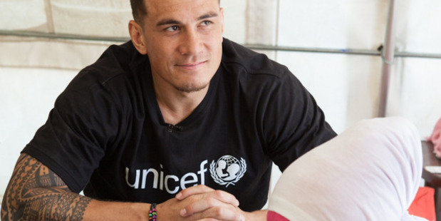 Sonny Bill Williams recently visited a Syrian refugee camp in Lebanon. Photo / Supplied, Christine Spring