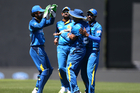 Sri Lanka celebrate taking the wicket of Martin Guptill during the third ODI. Photo / photosport.nz