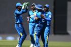 Sri Lanka celebrate taking the wicket of Martin Guptill during the third ODI. Photo / photosport.nz