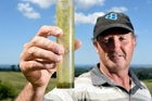 Federated Farmers Bay of Plenty provincial president Rick Powdrell takes his own rainfall readings and says the region needs substantial rainfall as pasture growth had slowed. Photo / George Novak