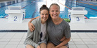 New Zealand swimmer Lauren Boyle (left) with Swedish swimmer Michelle Coleman at the Sir Owen G. Glenn National Aquatic Centre. Photo / Brett Phibbs