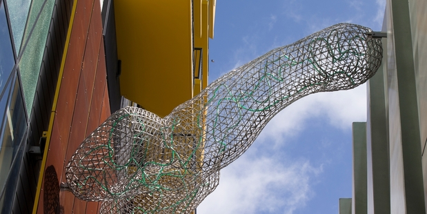 Part of the aluminium mesh sculptures near the New Lynn railway station and mall. Photo / Nick Reed
