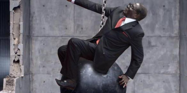 Meme created from a photo of Zimbabwean President Robert Mugabe falling. The photo went viral after Mugabe tried to ban its publication.