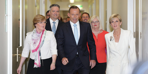 Prime Minister Tony Abbott was surrounded by ministers ahead of the leadership vote. Photo / Getty